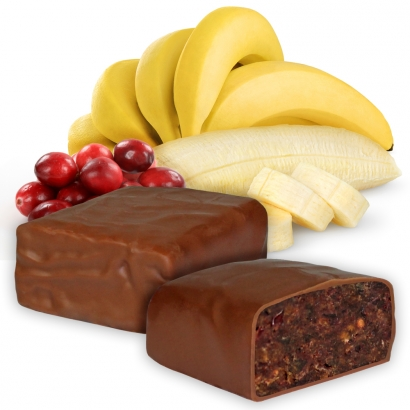 Unser Bestseller! Der Banane-Cranberry Riegel mit Schokoladenüberzug