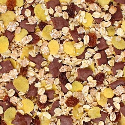 Eine schokoladige Bio Müslimischung mit Rosinen