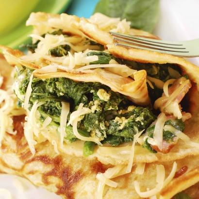 Pfannkuchenm mit Spinat