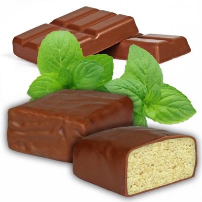 Proteinriegel Minze mit viel Eiweiß und Vollmilchschokolade