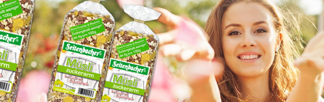 Seitenbacher Müsli zuckerarm das Müsli ohne  Zucker mit viel Eiweiß und wichtigen Ballaststoffen